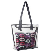 Clear Tote Bag with Lips Pouch